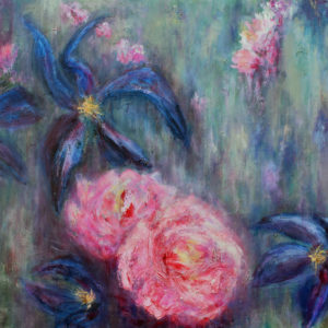 clematis rose, SBBoursot, painting, art, artist, flowers,